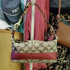 Women's Coach Stripe Red Brown Mini Tote Bag